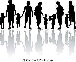 sylwetka, -, rodzina, ilustracja