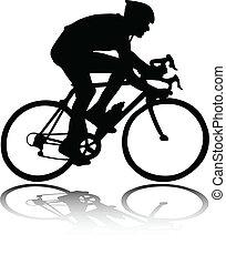 sylwetka, rowerzysta