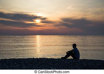 sylwetka, słońce, smutny, zachód słońca, tło, zmartwiony, plaża, człowiek
