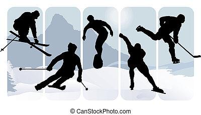 sylwetka, sport, zima