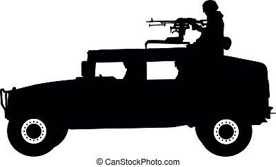 sylwetka, stoi, żołnierz, łazik, wyposażenie, vector., wojskowy, karabin, honor