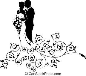 sylwetka, szambelan królewski, panna młoda, para, abstrakcyjny, ślub