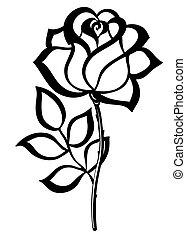 sylwetka, szkic, odizolowany, róża, czarnoskóry, white.