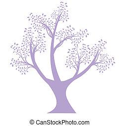 sylwetka, sztuka, drzewo