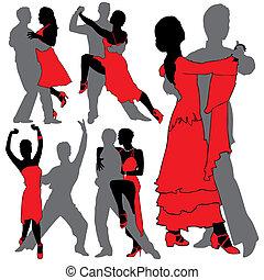 sylwetka, tancerze, komplet, latino