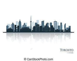 sylwetka, toronto skyline, odbicie., błękitny