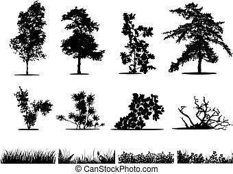 sylwetka, trawa, drzewa, krzaki
