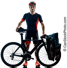 sylwetka, triathlete, triathlon, tło, kolarstwo, odizolowany, biały, rowerzysta