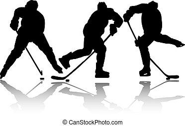 sylwetka, trzy, lód hokej, sport, ikona