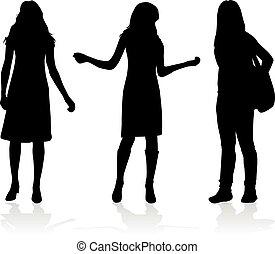 sylwetka, trzy, women.