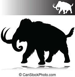 sylwetka, wektor, mamut