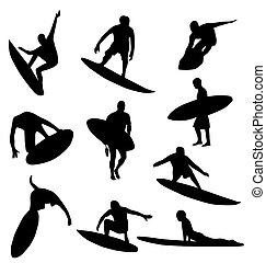 sylwetka, zbiór, surfer