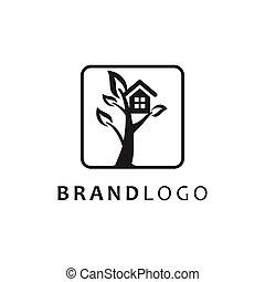 symbol, drzewo dom, wektor, logo