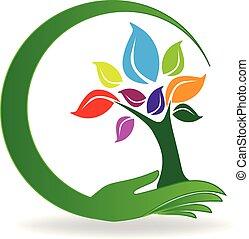 symbol, drzewo, ręka, wektor, logo, troska