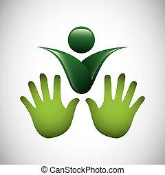 symbol, ekologia, odizolowany, ikona