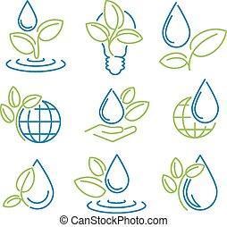 symbol, ekologia, set., eco-icons.