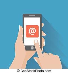 symbol, email, telefon, dotknięcie ręka, ekran, mądry