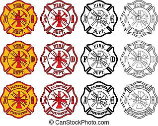 symbol, firefighter, krzyż