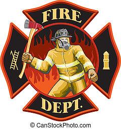 symbol, firefighter, wnętrze, krzyż