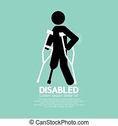 symbol, ilustracja, kula, niepełnosprawny, osoba, wektor, czarnoskóry