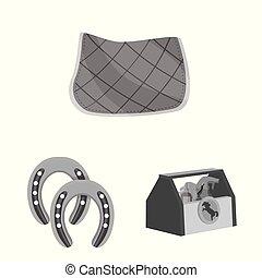 symbol, koń prąd, wektor, ilustracja, pień, biegi, web., zbiór, icon.