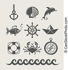 symbol, komplet, marynarka, morze, ikona