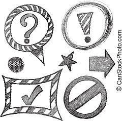 symbol, komplet, rys, znak
