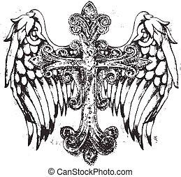 symbol, królewski, krzyż, skrzydło