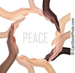 symbol, multiracial, ludzkie ręki, konceptualny, zrobienie, koło