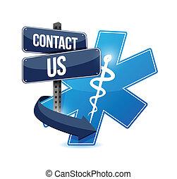 symbol, na, kontakt, projektować, ilustracja medyczna