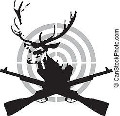 symbol, polować, jeleń