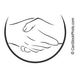 symbol, potrząsanie, ręka