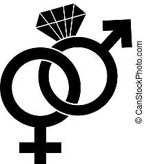 symbol, samiec, samica