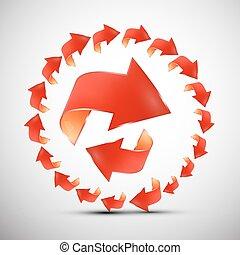 symbol, strzały, circle., strzała, set., czerwony