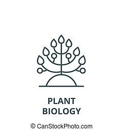 symbol, szkic, linearny, pojęcie, biologia, wektor, znak, kreska, roślina, ikona