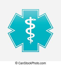 symbol, wektor, medyczny, illustration., kaduceusz