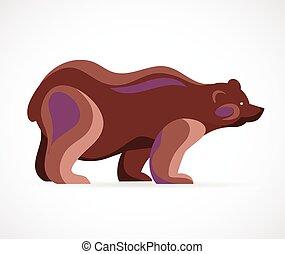 symbol, wektor, -, niedźwiedź, ilustracja