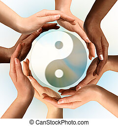 symbol, yin, multiracial, okoliczny, yang, siła robocza