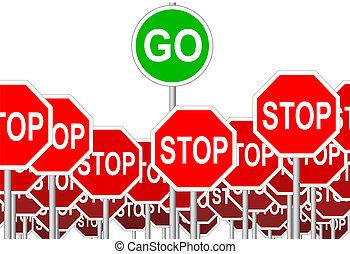 symbol, zatrzymywać, odizolowany, znak, znaki, iść, postęp
