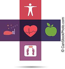 symbol, zdrowie, krzyż, barwny, troska