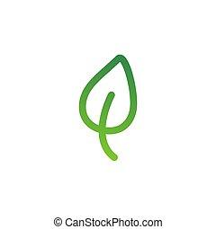 symbol, zielony, medyczny, leaf., kreska