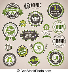 symbole, komplet, organiczny, etykiety
