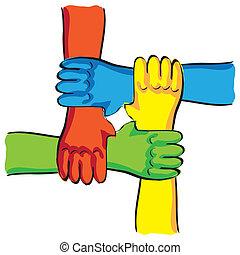 symboliczny, -, ilustracja, połączenie, teamwork, siła robocza