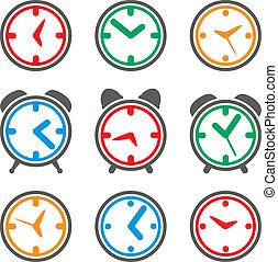symbolika, barwny, wektor, zegar