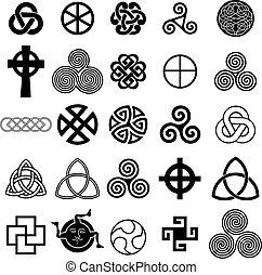 symbolika, celtycki, komplet, vector., ikony