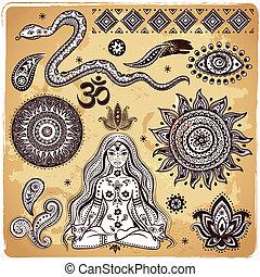 symbolika, dekoracyjny, komplet, indianin, elementy