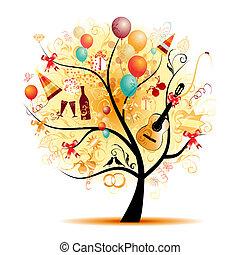 symbolika, drzewo, szczęśliwy, celebrowanie, święto, zabawny
