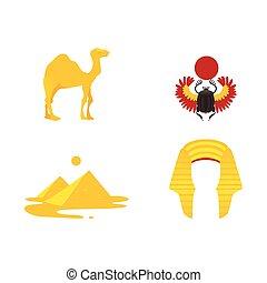 symbolika, egipt, -, wielbłąd, skarabeusz, korona, piramidy