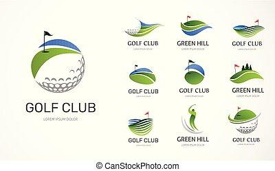 symbolika, elementy, golfowy klub, ikony, zbiór, logo