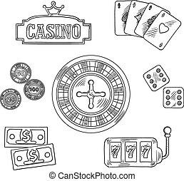 symbolika, hazard, kasyno, sketched
